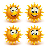 Set of Summer Sun Face with Happy Smile Royalty Free Stock Photos