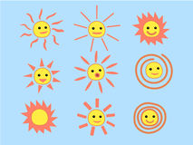 Set of Summer Sun Face with Happy Smile. Vector Illustration Stock Photography