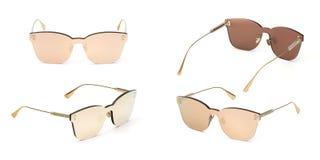 Set Summer Sunglasses isolated on white background. Collection fashion eye glasses.  stock photo