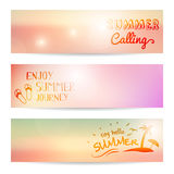 Set of summer sunset  banner Stock Photography