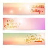 Set of summer sunset  banner Stock Photography