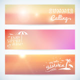 Set of summer sunset vector banner Stock Photos