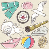 Set of  summer symbols,  boat, seashell, compass, telescope, sea Stock Image