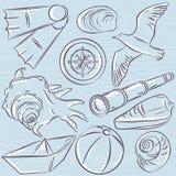 Set of  summer symbols,  boat, seashell, compass, teleskope, sea Stock Photo
