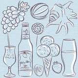 Set of  summer symbols, clams, shells, cocktail, fruits, beer, i Royalty Free Stock Photography