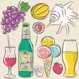 Set of  summer symbols, clams, shells, cocktail, fruits, beer, i Stock Image
