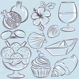 Set of  summer symbols, clams, shells, ice cream, sunglasses, po Royalty Free Stock Photos