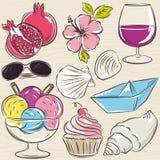 Set of  summer symbols, clams, shells, ice cream, sunglasses, po Stock Photos