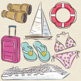 Set of  summer symbols, cruise ship, boat, suitcase, swim suit, Stock Images