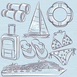 Set of  summer symbols, cruise ship, boat, suitcase, swim suit, Royalty Free Stock Images