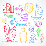 Set of summer symbols Stock Photo