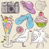 Set of  summer symbols,  seashell, seagull, camera, muffin, hat, Royalty Free Stock Photo