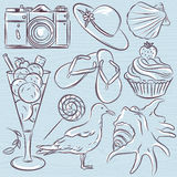 Set of  summer symbols,  seashell, seagull, camera, muffin, hat, Royalty Free Stock Image