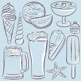 Set of  summer symbols, shells, beer, ice cream, watermelon on a Royalty Free Stock Image
