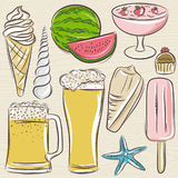 Set of  summer symbols, shells, beer, ice cream, watermelon on a Stock Image