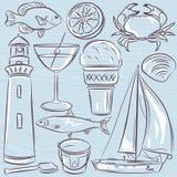 Set of  summer symbols, shells, crab, boat, cocktail, lighthouse Stock Photography