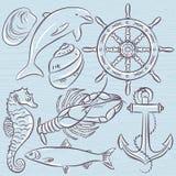 Set of  summer symbols, ship rudder,anchor, shells, lobster,dolp Stock Photography