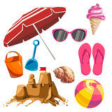 Set of summer things Stock Images