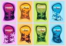 Set of Summer Time banners with palms. Paper cut and craft style. Vector illustration. royalty free illustration