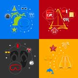Set of summer tourism icons vector illustration