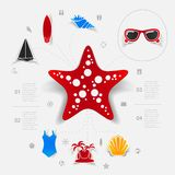 Set of summer tourism icons. Vector illustration Stock Images