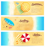 Set of summer travel banners with beach umbrellas Royalty Free Stock Photos