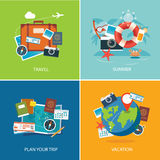 Set of summer and travel flat design banner template Royalty Free Stock Photography