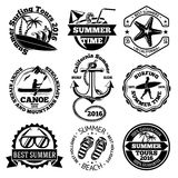 Set of summer travel labels with surfing, canoe, anchor, sunglasses, palms etc. Vector Royalty Free Stock Photos