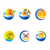 Set of summer travel and tourism  illustrations. Tropical island palms and sailing boat. Stock Images