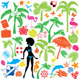 Set of summer, travel and vacations symbols. Silhouettes of woman in bikini, tropical palms trees, butterflies, marine life, etc Royalty Free Stock Photo