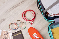 Set of summer travelling stuff. Stock Photos