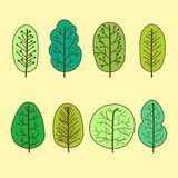 Set of summer trees abstract linear icons. Hand-drawn forest trees. Set of smmer trees abstract linear icons. Hand-drawn forest trees. Vector illustration vector illustration