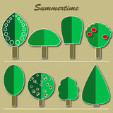 Set of summer trees Royalty Free Stock Image