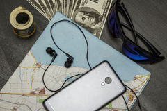Set for summer trips with a bunch of money stock photos