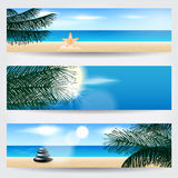 Set of summer tropical web banners Stock Photos