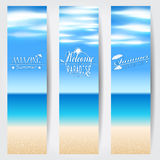 Set of summer tropical web banners Royalty Free Stock Photos