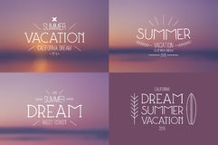 Set of summer vacation badges and blurred backgrounds Royalty Free Stock Photo