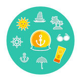 Set of summer vacation beach. Umbrella sun ship Royalty Free Stock Image