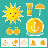 Set of summer vacation beach. Umbrella sun ship Stock Photography
