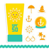 Set of summer vacation beach. Umbrella sun ship Royalty Free Stock Photos