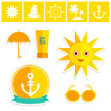 Set of summer vacation beach. Umbrella sun ship Royalty Free Stock Photo