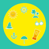 Set of summer vacation beach. Umbrella sun ship Stock Photos