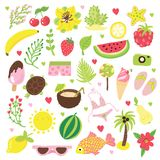 Set of summer and vacation elements. Cute cartoon vector illustration about summer holidays and vacations, summer time. And relax royalty free illustration