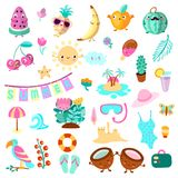 Set of summer and vacation elements. Cute cartoon vector illustration about summer holidays and vacations, summer time. And relax vector illustration