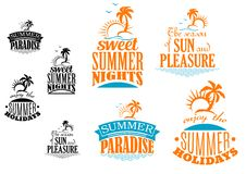 Set of Summer vacation icons. Depicting sunshine, palm trees and tropical islands with various text in blue and orange with a second black and white set, vector Royalty Free Stock Photos