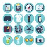 Set of summer vacation icons. Set of sixteen different round summer vacation icons with a suitcase, passport, map, camera, sunglasses, sunscreen, swimsuit, slip Stock Images