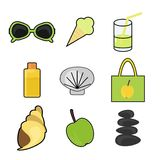 Set with summer vacation objects Royalty Free Stock Photo