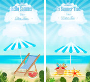 Set of summer vacation seascapes vertical banners vector. Illustration vector illustration