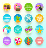Set of summer vacation and travel labels Stock Photo