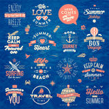 Set of summer vacation type design. Set of travel and summer vacation type design Stock Images